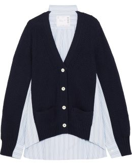 Waffle-knit Wool And Cotton-poplin Cardigan