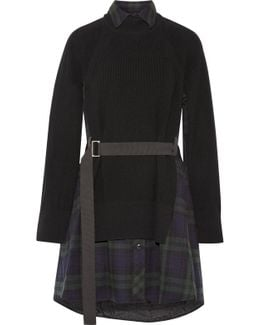 Grosgrain-trimmed Flannel Wool And Ribbed Cotton Dress