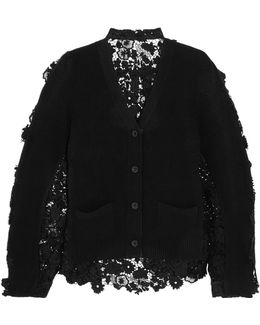 Flower Chemical Wool And Cotton-lace Cardigan