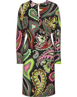 Gathered Printed Jersey Dress