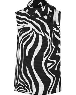 Tie-neck Printed Silk Wrap Top