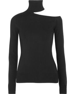 Cutout Knitted Turtleneck Sweater