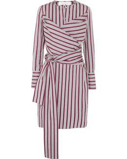 Tie-front Striped Cotton Shirt Dress