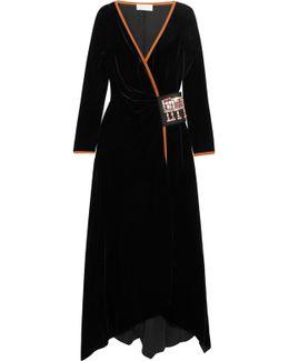 Swarovski Crystal-embellished Velvet Wrap Gown