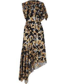 Asymmetric Metallic Fil Coupé Silk-blend Dress