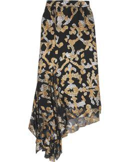 Asymmetric Metallic Fil Coupé Silk-blend Skirt