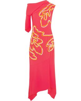 Asymmetric Chenille-trimmed Crepe Midi Dress