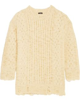 Oversized Distressed Cable-knit Wool Sweater