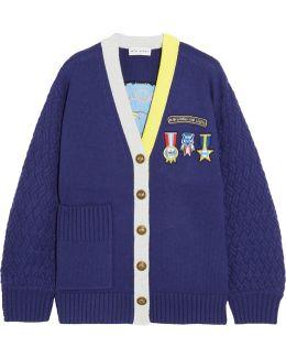Embroidered Appliquéd Wool-blend Cardigan