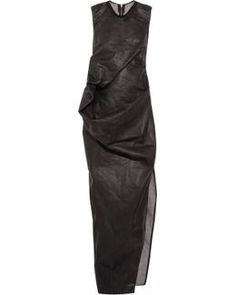 Draped Waxed-cotton Maxi Dress