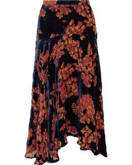 Ida Printed Devoré-velvet Midi Skirt