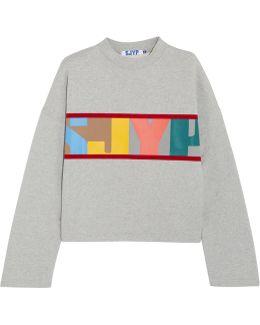 Oversized Velvet-trimmed Printed Cotton-terry Sweatshirt