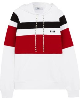 Crystal-embellished Striped Jersey Hooded Top