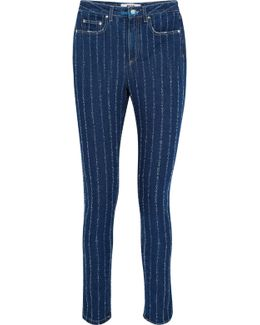 Distressed Pinstriped High-rise Skinny Jeans