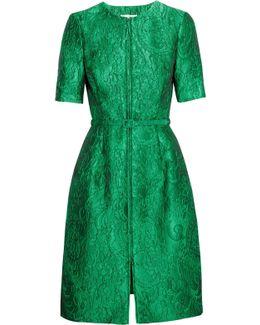 Belted Silk-jacquard Dress