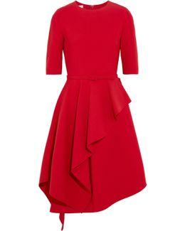 Ruffled Stretch Wool-blend Dress