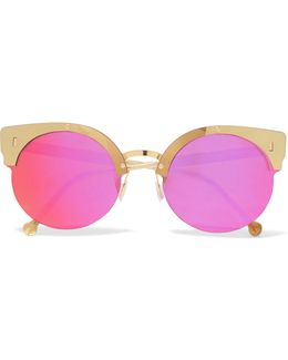 Era Round-frame Acetate And Gold-tone Mirrored Sunglasses