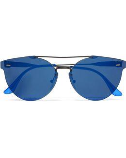 Tuttolente Giaguaro Round-frame Acetate And Metal Mirrored Sunglasses