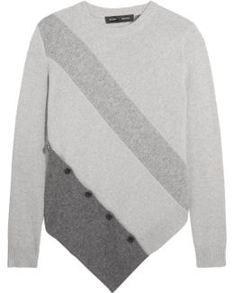 Asymmetric Paneled Wool And Cashmere-blend Sweater
