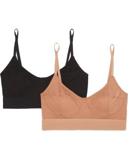 Set Of Two Stretch-bamboo Soft-cup Bra