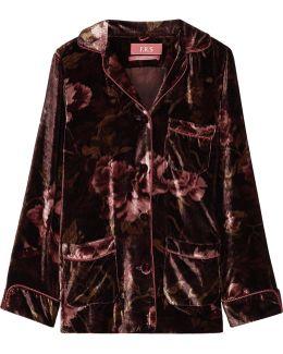 Rea Floral-print Velvet Pajama Top