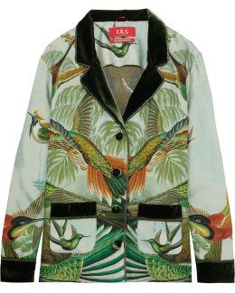 Ade Velvet-trimmed Printed Silk-twill Pajama Shirt