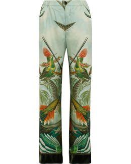 Etere Velvet-trimmed Printed Silk-twill Pajama Pants
