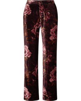 Crono Floral-print Velvet Pajama Pants