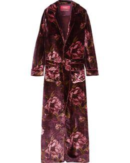 Lelantos Floral-print Velvet Robe