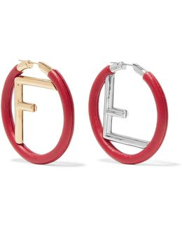 Gold And Silver-plated Leather Hoop Earrings