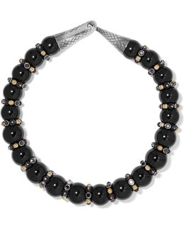 Onyx, Silver And Crystal Necklace