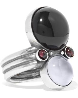 Silver, Onyx And Chalcedony Ring