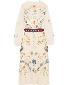 Studded Printed Stretch-silk Georgette Midi Dress