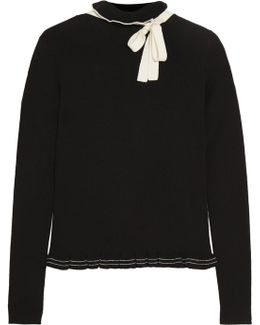 Ruffled Bow-embellished Wool Sweater