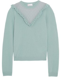 Ruffled Swiss-dot Tulle-paneled Wool Sweater