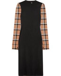 Checked Wool Blend-paneled Stretch-satin Midi Dress