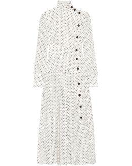 Pleated Polka-dot Silk Crepe De Chine Midi Dress