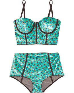 Floral-print Velour And Stretch-tulle Lingerie Set