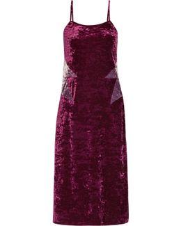 Starburst Crushed-velvet Slip Dress