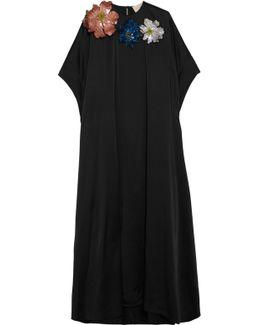 Embellished Appliquéd Satin Maxi Dress