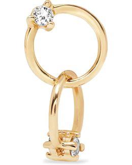 Double Circle 14-karat Gold Sapphire Earring