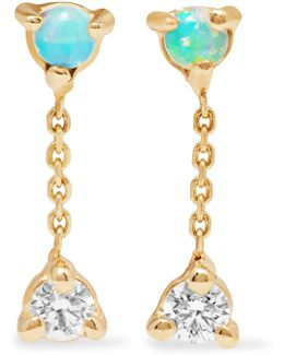 Two Step 14-karat Gold, Opal And Diamond Earrings