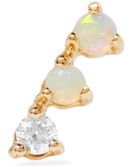Three Step 14-karat Gold, Opal And Diamond Earring
