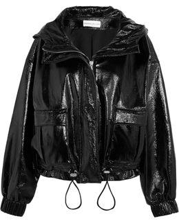 Hooded Textured-vinyl Jacket