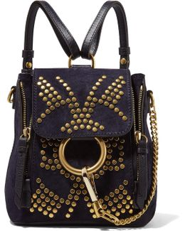 Faye Mini Studded Suede And Leather Backpack