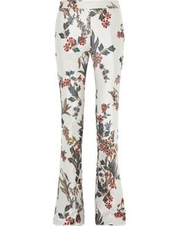 Floral Satin-jacquard Flared Pants