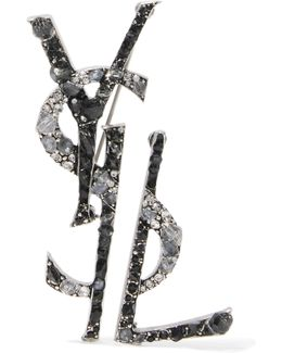 Ruthenium-plated, Crystal And Enamel Brooch