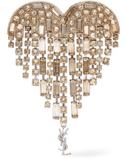 Silver-plated Crystal Brooch