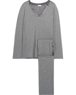 Ivy Satin-trimmed Cotton-blend Jersey Pajama Set