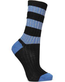 Metallic Striped Wool-blend Socks